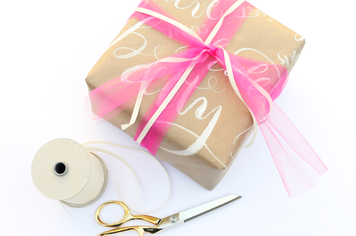 wrapping lettered paper